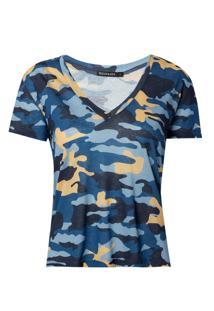 Blusa Le Lis Blanc Camuflada I Malha Estampado Feminina (Camuflado Blue, Gg)
