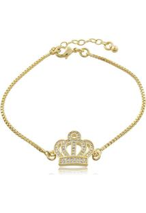 Pulseira P.R.A. Folheados Coroa De Micro Zircônias Dourado
