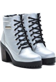 Bota Couro Atron Shoes Cano Curto Feminina - Feminino-Prata