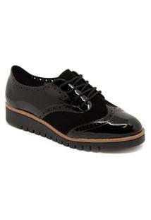 Sapato Oxford Beira Rio 4174.827 Flatform Tratorado Verniz Preto
