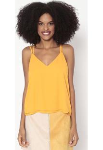 Blusa Lisa Com Recortes Sobrepostos - Amarelo Escurowool Line