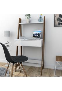 Escrivaninha Estante Com 1 Gaveta Trend Office Bliv - Branco E Castanho