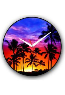 Relógio De Parede Colours Creative Photo Decor Decorativo, Criativo E Diferente - Pôr Do Sol E Coqueiros