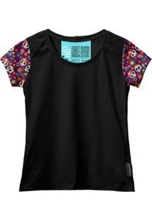 Camiseta Baby Look Feminina Algodão Estampa Caveira Moda - Feminino