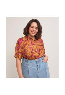 Camisa Manga Curta Em Viscose Estampa Bananas Curve & Plus Size | Ashua Curve E Plus Size | Rosa | Eg