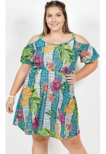 Vestido Curto Floral Azul De Alças Plus Size