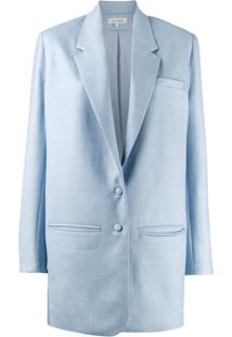 Malaika Raiss Blazer Longo Com Abotoamento Simples - Azul