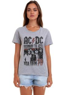 Camiseta Feminina Joss Ac Dc Usa Cinza Mescla.