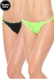 Calcinha Alto Giro String Neon Dupla Face Preta/Verde