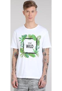 """Camiseta Masculina """"Stay Wild"""" Manga Curta Gola Careca Off White"""