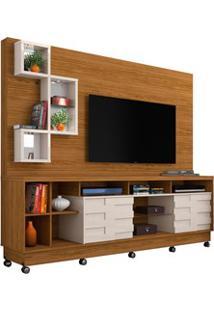 Estante Home Theater Para Tv Até 65 Pol. Com Rodízios Heitor Naturale/