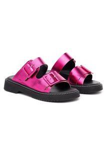 Sandália Birken Feminina Flatform Metalizada Conforto Casual Pink Metalizado 38 Rosa