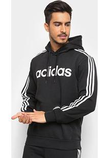 Moletom Adidas Estampa Logo E 3S Po Fl Masculino - Masculino-Preto+Branco