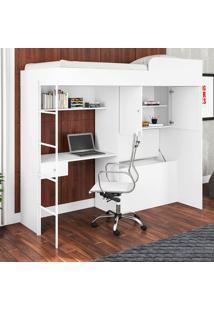 Cama De Solteiro 2 Portas Com Escrivaninha Luiza Branco - Art In Móveis