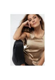 Blusa Em Seda E Modal Decote Redondo E Alças Largas - Bege G Intimissimi