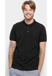 Camisa Polo Reserva Piquet Básica Masculina - Masculino-Preto