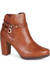 Ankle Boots Feminina Conforto Elástico Caramelo Caramelo