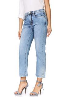 Calça Jeans Carmim Reta Cropped Papoula Tomboy Azul