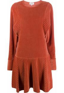 Kenzo Vestido Canelado Texturizado - Laranja