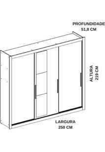 Guarda-Roupa 3 Portas Carraro Astor 1072 C Espelho Anis Se