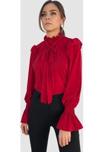 Blusa Hora De Diva Gola Alta Laço Bufante Vermelha - Kanui