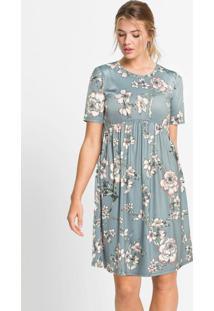 Vestido Com Recorte E Franzidos Floral Cinza