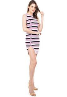 Vestido Curto Pink Tricot Modal Listrado Fenda E Botões Feminino - Feminino-Roxo+Branco