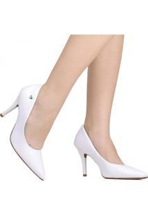 Sapato Scarpin Vizzano Noivas Bico Fino Branco