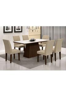 Conjunto De Mesa De Jantar Luna I Com Vidro E 6 Cadeiras Grécia Veludo Castor E Creme