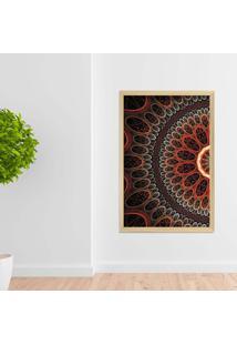 Quadro Love Decor Com Moldura Abstrato Circulos Madeira Clara Médio