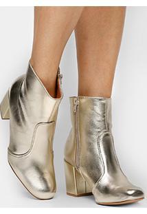 Bota Shoestock Cano Curto Metalizada - Feminino-Dourado