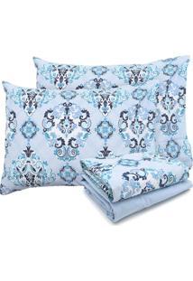 Jogo De Cama Queen Santista Prata Dalila 150 Fios Azul
