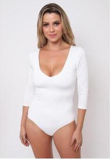 Body Feminino The Style Box Decote V - Feminino-Off White