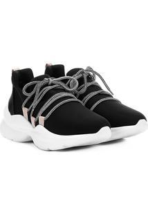 Tênis Chuncky Capodarte Sportive Sneaker Neoprene Feminino - Feminino-Preto+Bege
