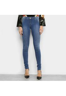 Calça Jeans Coffee Skinny Estonada Feminina - Feminino-Azul