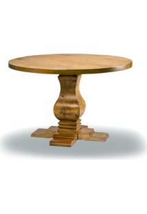 Mesa De Jantar Casual Redonda Madeira Maciça Design Clássico Avi Móveis