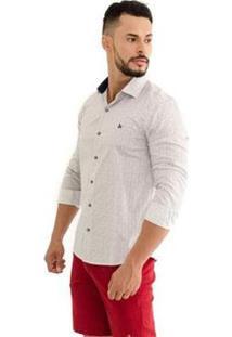 Camisa Vitrine Casual Impacto Slim Manga Longa - Masculino-Branco