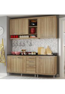 Cozinha Compacta 8 Portas Sicília Com Tampo 5819 Argila - Multimóveis