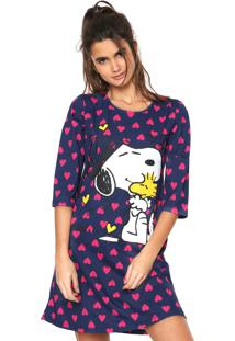 Camisola Snoopy Curta Estampada Azul-Marinho