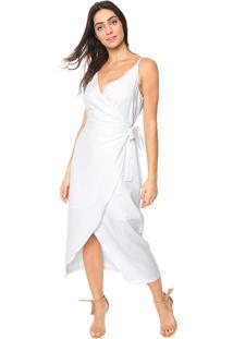 c1b988605 ... Vestido Linho Colcci Midi Transpassado Branco