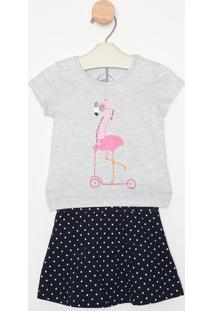 Conjunto De Blusa ''Flamingo'' + Short Saia- Cinza Claroyoung
