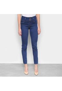 Calça Jeans Skinny Sawary Cigarrete Heart Escura Cintura Média Feminina - Feminino