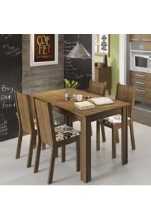 Conjunto De Mesa Com 4 Cadeiras Rosie Rustic E Floral Hibiscos