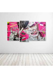Quadro Decorativo - Girl Newspaper - Composto De 5 Quadros - Multicolorido - Dafiti