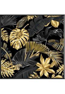 Quadro Decorativo Folhas- Preto & Dourado- 70X70Cm