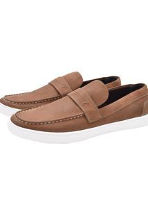 Mocassim Dockside Corazzi Leather Deluxe Couro Tan Marrom