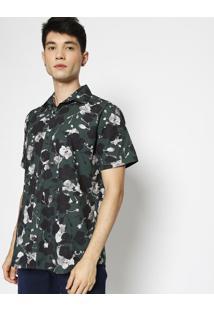 Camisa Slim Fit Floral- Verde & Preta- Forumforum
