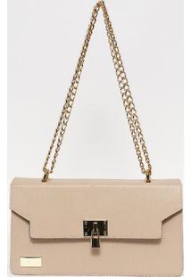 Bolsa Em Couro Com Corrente- Nude & Dourada- 15,5X27Anette