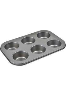 Forma Para 6 Cupcakes Em Aço Carbono Com Antiaderente 26 X 18 X 3 Cm