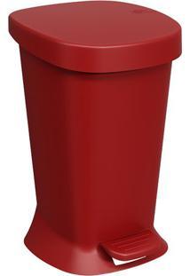 Lixeira Com Pedal Square- Vermelha- 32X20X21Cm- Coza